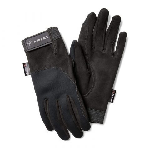 Black suede insulated riding gloves with velcro tab at the wrist