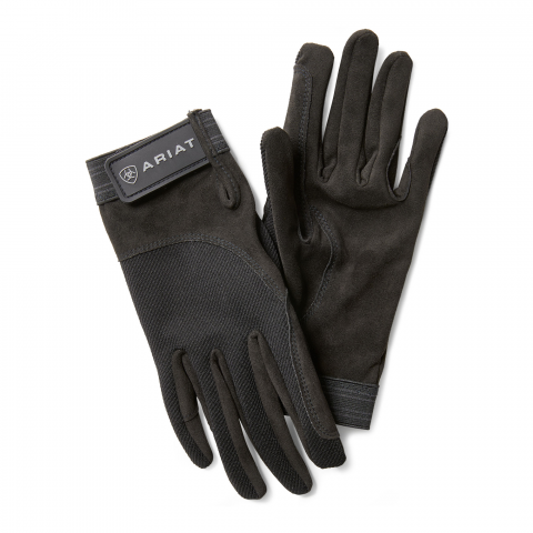 Black suede riding gloves with velcro tab at the wrist