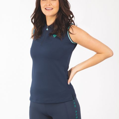 Aubrion ladies navy polo sleeveless equestrian riding